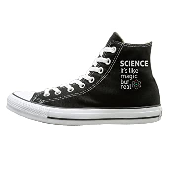 d978910a0293 Amazon.com  Shenigon Science It s Like Magic But Real Canvas Shoes High Top  Sport Black Sneakers Unisex Style  Clothing