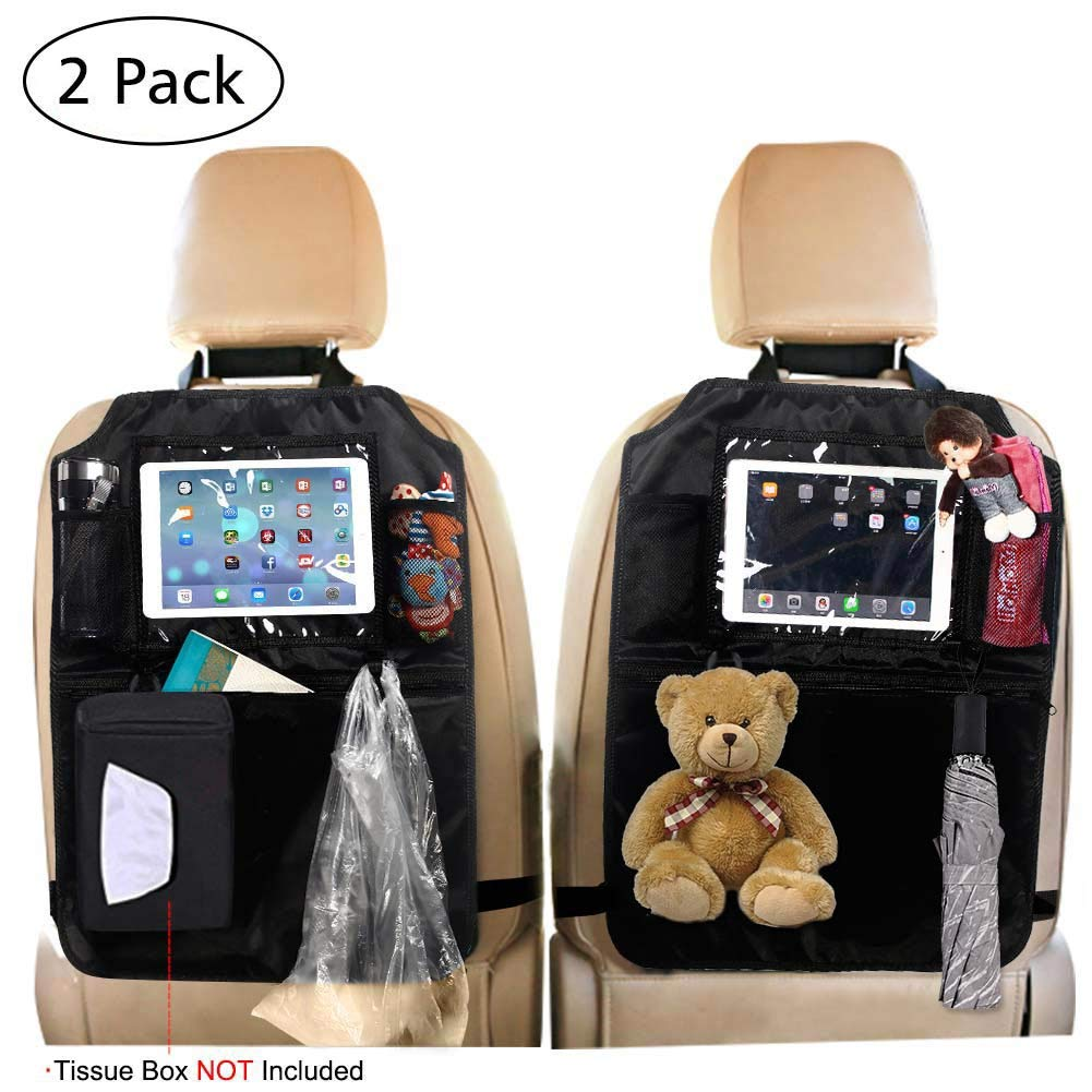 Car Seat Back Protector(2 Pack), Kick Mats Waterproof Car Back Seat Organizer with Storage Pocket for iPad Tablet Tissue Box Bottle and Baby Travel Accessories,Black
