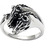 Sterling Silver Two Horse Heads Ring
