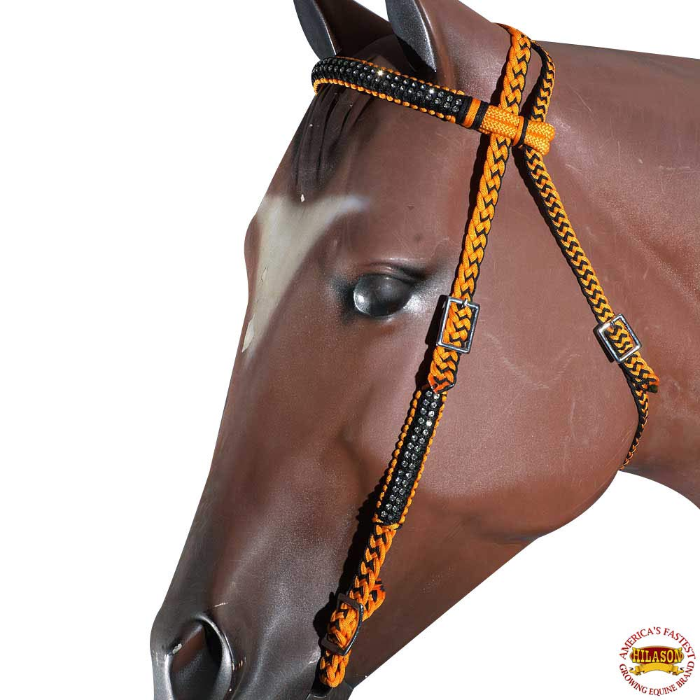 HILASON Orange Black Horse Bridle Headstall Braided Rope Cord Crystal Accents