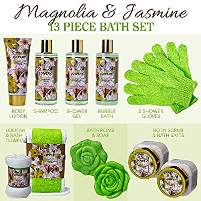 Valentine's Bath and Body Gift Basket For Women & Men – Magnolia and Jasmine Home Spa Set, Includes Fragrant Lotions, Bath Bomb, Towel, Shower Gloves, Green Wired Bread Basket and More - 13 Piece Set