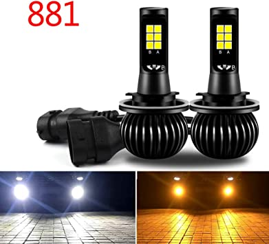 H4 LED Headlights Fog Lights 8000LM 6000K Yellow White Dual Color Lamps 2 pcs