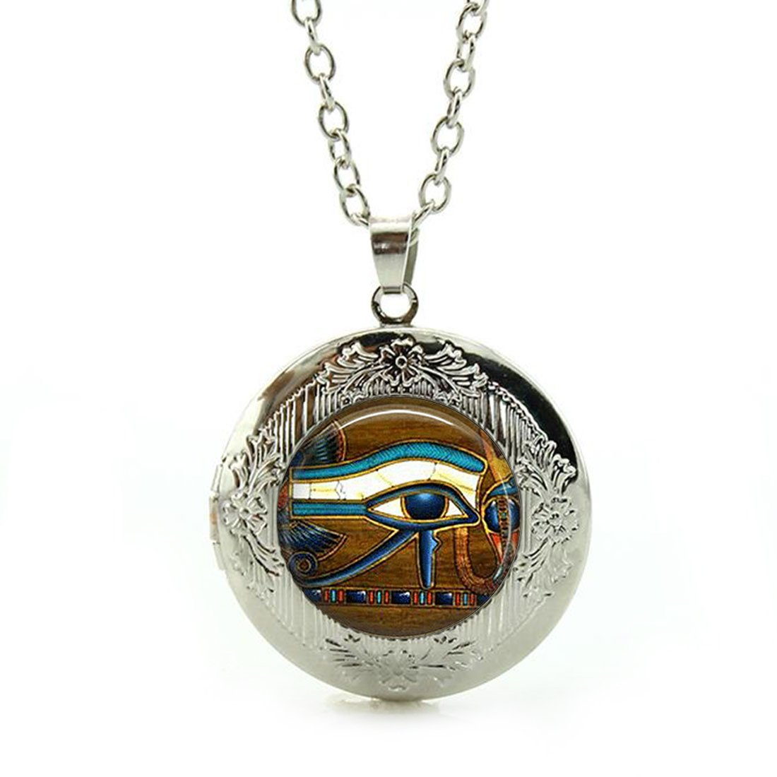 Custom Photo Glass Cabochon Pendant Necklace Tile Eye Of Horus Egyptian Eye Sterling Silver Plating Chain Circle Bead Choker Healing Amulet for Friends Gift