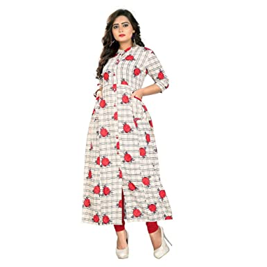 Angel Off white Color Cotton Fabric 3 4th Sleeve Printed Kurti For Women 80d1935b14