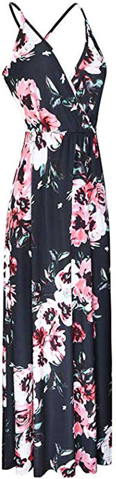 Hessimy Womens Summer Sleeveless Loose Plain Maxi Dress Floral Print Casual Long Dresses