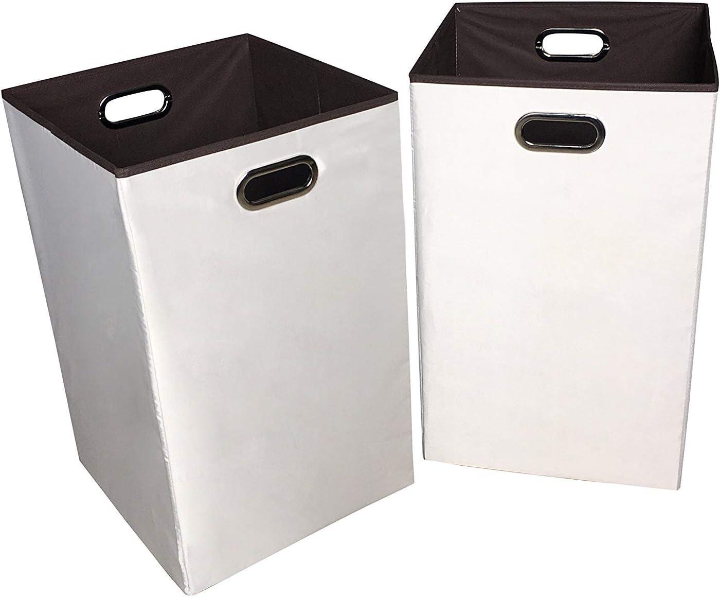 "Sodynee 2-Pack 23"" Closet Folding Laundry Clothes Hamper Sorter Basket Bin,Beige with Brown Interior"
