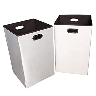 Sodynee 2-Pack 23  Closet Folding Laundry Clothes Hamper Sorter Basket Bin,Beige with Brown Interior