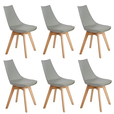 EGGREE Pack de 6 Diamante Comedor/Silla de Oficina con Las piernas de Madera de Haya Maciza, sillas sin Brazos Acolchada para Mayor comodida - Gris