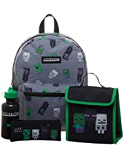 Minecraft Kids Minecraft Backpack 4 Piece Set Including Lunchbag, Water Bottle and Pencil Case