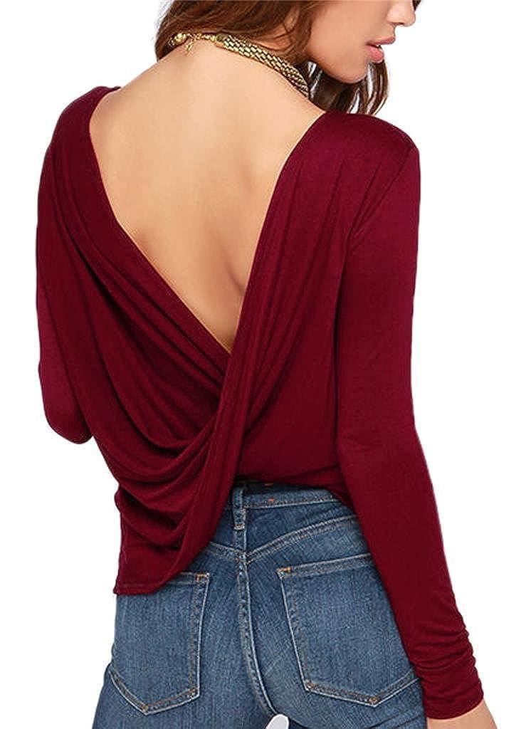 LIREROJE Women's Loose Backless Long Sleeve Top Blouse