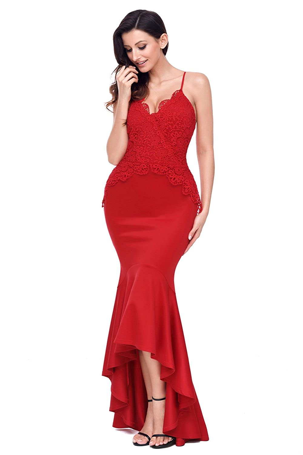 5eecc7fa5bc81 Amazon.com  Summer Women Crisscross Spaghetti Straps Hi-Low Mermaid Dress  Maxi Long Dress Sexy Backless Party Gowns Red Vestidos De Fiesta (S)   Clothing