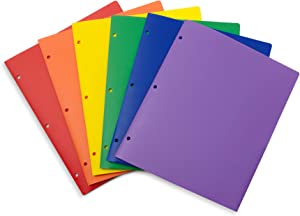 Blue Summit Supplies Multicolor Plastic Two Pocket Folders with 3 Holes, Plastic Folders with 2 Pockets and Business Card Slot, 3 Hole Punched 2 Pocket Folders for School, Home, and Work, 12 Pack
