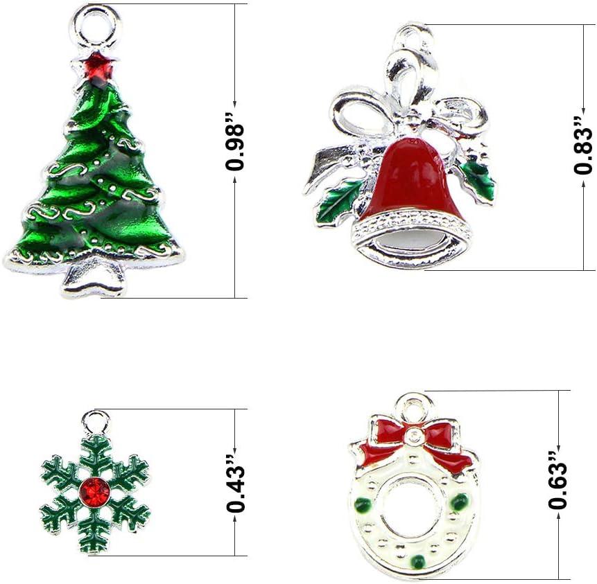 21pcs Enamel Metal Charms Pendant Xmas Themed Earrings Jewelry Making Craft