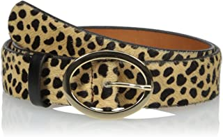 product image for Circa Leathergoods Women's Oval Buckle Leopard Haircalf Belt