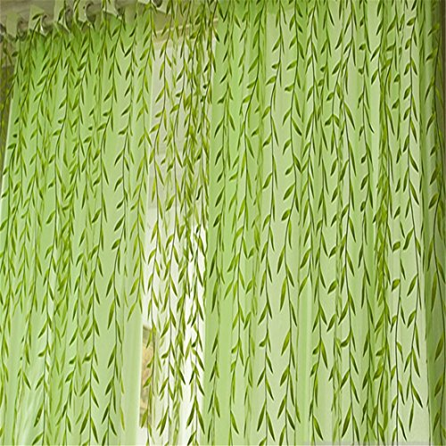 UNKE Chic Room Willow Pattern Voile Window Curtain Sheer Panel Drapes Scarfs (Wash Sheer Curtains)