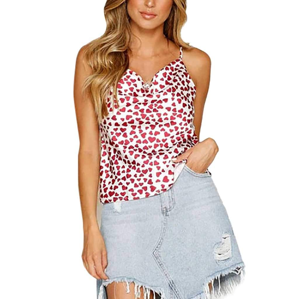 NUWFOR Women Ladies O-Neck Print T-Shirt Sleeveless Casual Tops Blouse Vest Tank(Pink,US L Bust:36.16'')