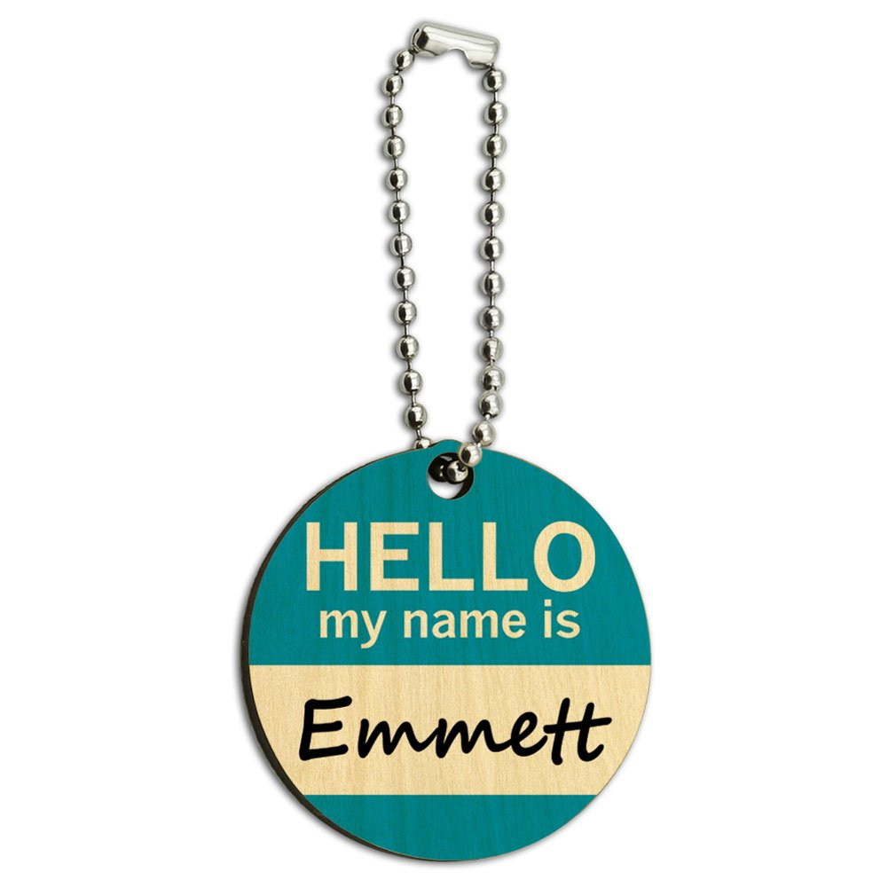 Emmett Hello My Name Is Wood Wooden Round Key Chain
