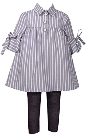 16fe8d21aba037 Bonnie Jean Gray Striped Bell Sleeve and Black Legging Pants Set 2T