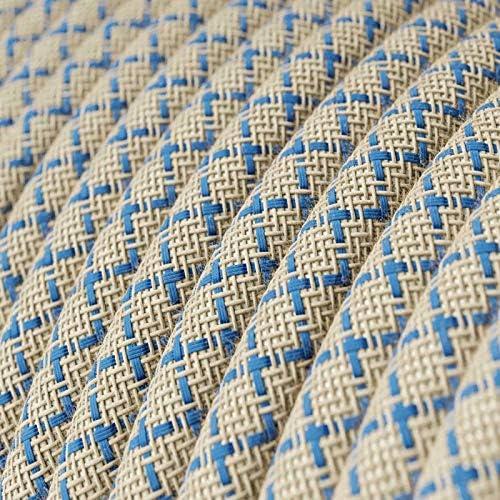 creative cables Fil /Électrique Rond Gaine De Tissu De Couleur Coton Losange Bleu Steward et Lin Naturel RD65-5 m/ètres 2x0.75