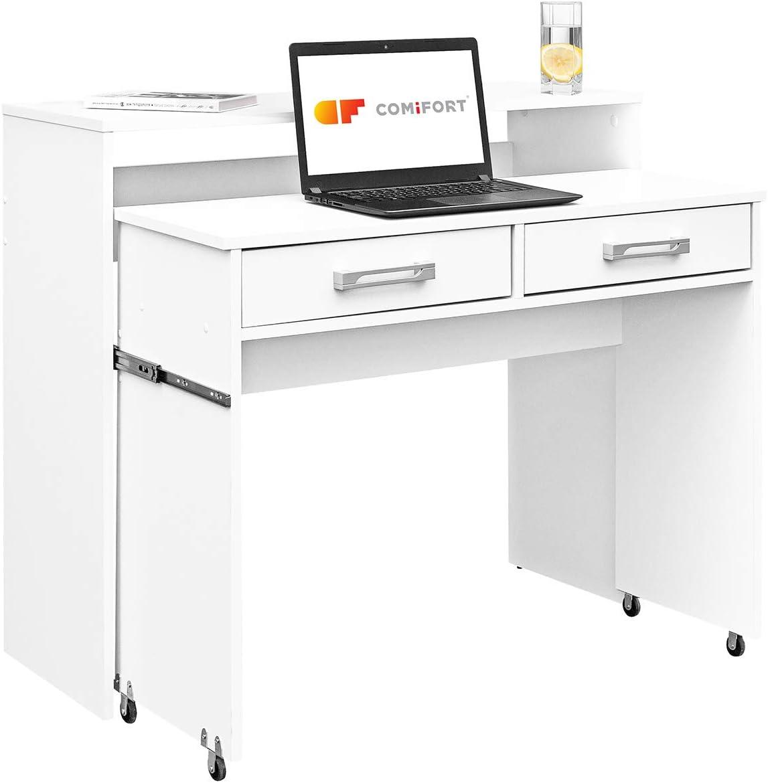 COMIFORT - Escritorio Juvenil Extensible, Mesa De Ordenador, Mesas De Estudio, Escritorios De Despacho (Blanco)