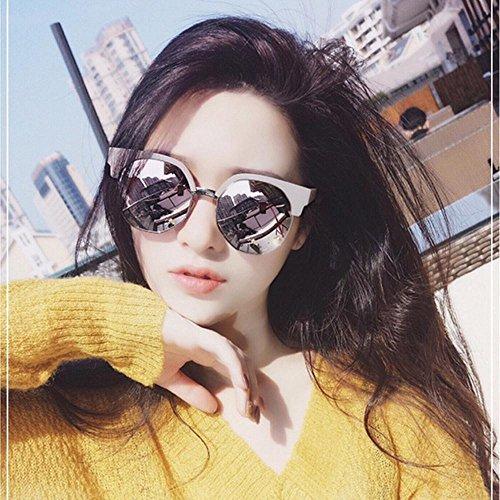 Aoligei Verres à lunettes de soleil Chao personnes irrégulières ronde demi cadre lunettes de soleil femme everbright biais boîte lunettes rvEVh8Tx