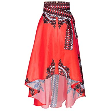 8bcbe7c59 Amazon.com: iLUGU Noble Maxi Skirt for Women Mesh Long Sleeve Round Collar  New African Printed Summer Boho Long Beach Evening Party: Clothing