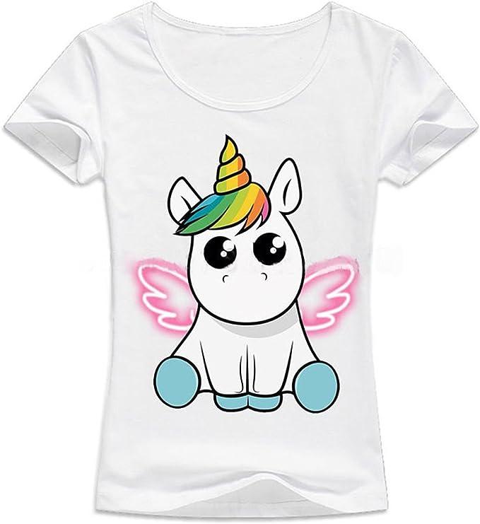 Mujer Camisetas Elegante Casuales Esencial Tops Manga Corta Verano Unicornio Impresión Camisas Fashion Cuello Redondo Slim Fit Blusa Shirts: Amazon.es: Ropa y accesorios