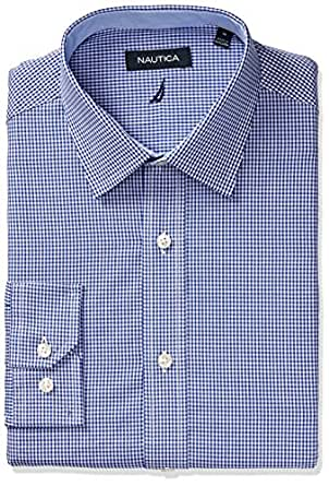 "Nautica Men's Classic Fit Gingham Spread Collar Dress Shirt, Navy, 17.5"" Neck 34""-35"" Sleeve"