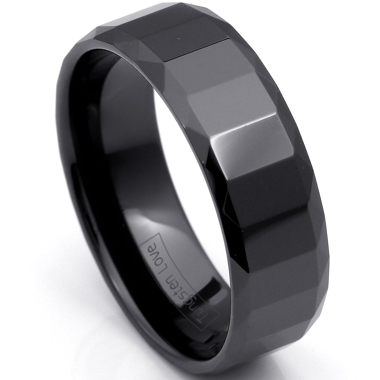 Partnerringe schwarz keramik  JewelryWe Schmuck 7mm Breite Schwarz Keramik Ring Facettiert Damen ...