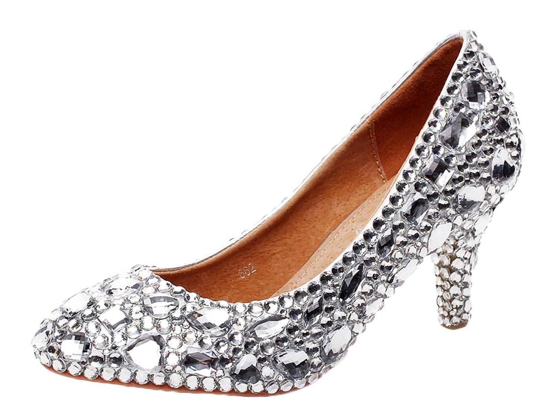 jiandick Womens Crystal Stud Platform High Heels Evening Prom Wedding Dress Pumps