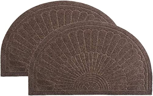 Rubber Doormat Indoor Outdoor Half Round Door Mat Set of 2, Low Profile Welcome Mat with Non Slip Backing Absorbent Shoe Scraper Floor Mat Entry Rug, 18 X 30 2 Pack-Coffee