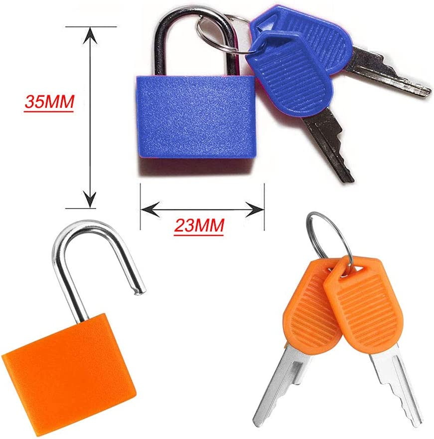 SRTYZ 6PCS Small Padlock with Keys Multicolor Mini Metal Padlocks Luggage Lockers Backpacks Luggage Computer Bags Toolbox File Cabinets School Gym and Other Colorful Colors are Easy to Distinguish