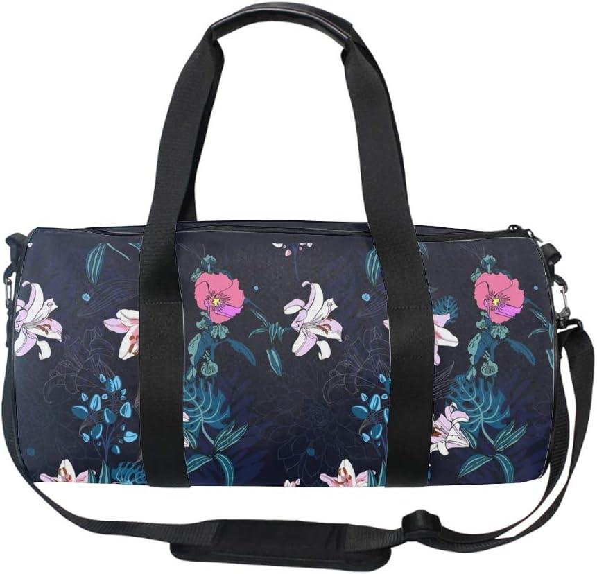 Original Trendy Artistic Flower Pattern Gym Bag Sports Duffel Bag Barrel Holdall Bag For Travel Gym Sports Bag