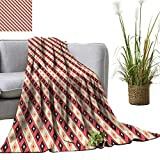 YOYI Blanket as Bedspread Big and Small Attached Diamond Line Ornament Pattern Light