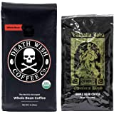 Death Wish & Valhalla Java Whole Bean Coffee Bundle Deal, USDA Certified Organic & Fair Trade (1 of Each Bag)
