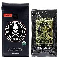 Death Wish & Valhalla Java Whole Bean Coffee Bundle Deal, USDA Certified Organic...
