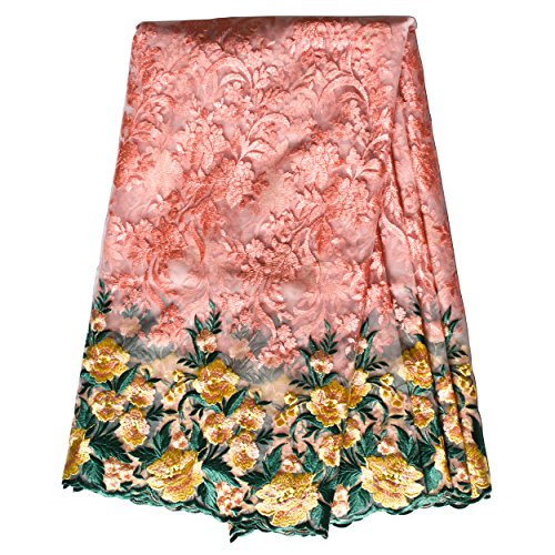 Stephen Wu African Lace Fabric 5 Yards Nigerian French Net Lace Beaded Tulle Fabrics Guipure for Wedding Dresses us-CWB-102 (Pink and gold)