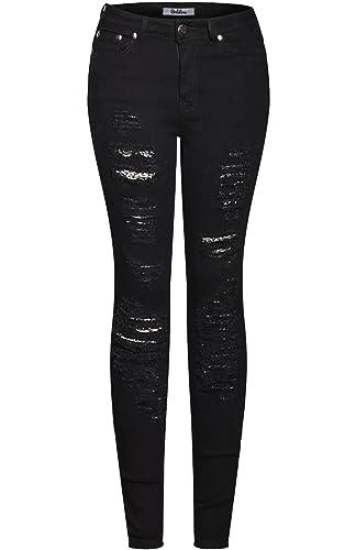 2LUV Women's Trendy Distressed 5 Pocket Denim Skinny Jeans