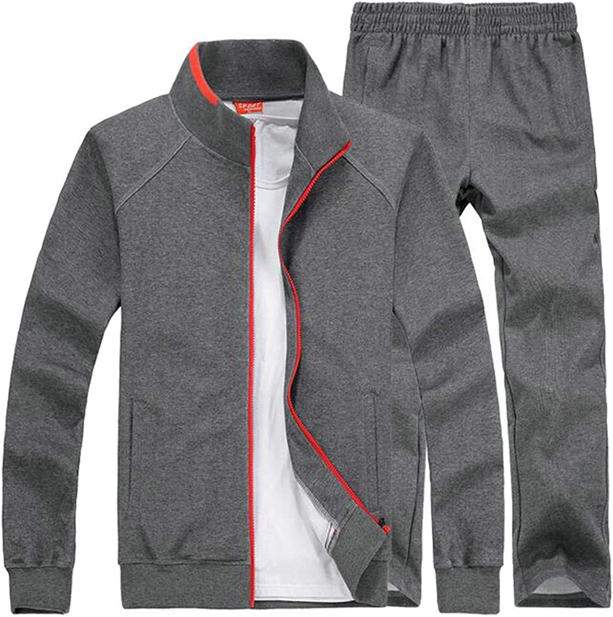 C/&H Mens Big and Tall Fit Sport Coat Two Pieces Tracksuit Set