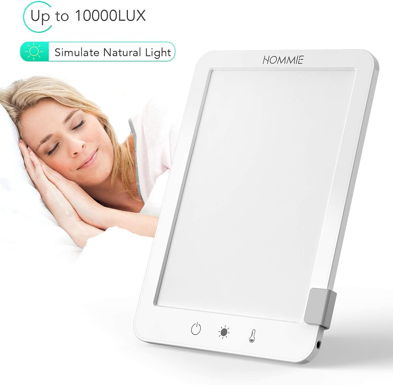 Light Therapy Lamp, Hommie 10000 Lux Full Spectrum Light UV Free SAD Lamp with 3 Adjustable Color Temperatures, Detachable Bracket, Touch Control Compact Size