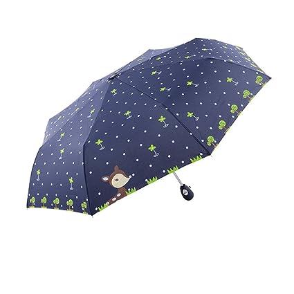 Paraguas plegable automático paraguas de lluvia/sol Imprimé Mignon ciervo, 8 Ballenas (Fibra