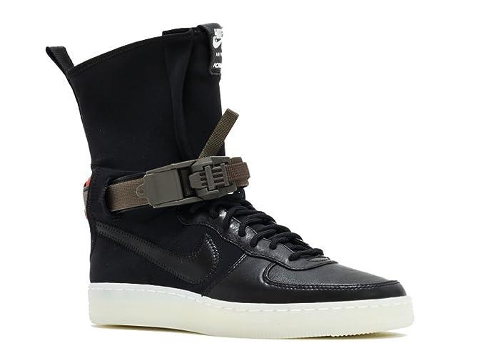 Nike AF1 Downtown HI SP/Acronym, Zapatillas de Baloncesto para Hombre, Negro/Negro/Naranja (Black/Black-Bright Crimson), 42 EU