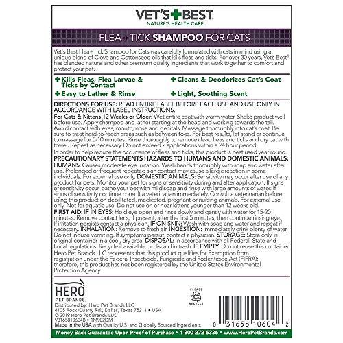 Vet's Best Flea & Tick Shampoo for Cats   Premium Shampoo & Cat Flea Treatment   12 oz