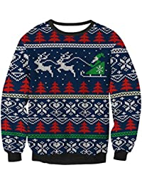 Women's Unisex Funny 3D Print Ugly Christmas Sweater Pullover Sweatshirts