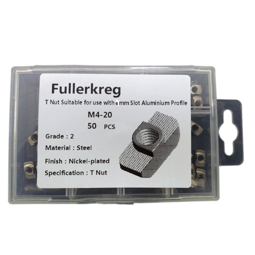 FullerKreg Hammer Head M4 T Nut Suitable for use with 6mm Slot Profile for European Standard 20 Series Aluminum Extrusion, Silver, Carbon Steel (pkg of 50) by Fullerkreg
