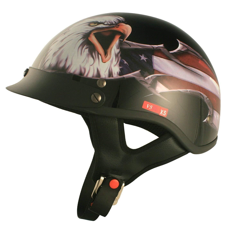 Gloss Black, Medium VCAN Cruiser Patriotic Eagle USA Graphics Motorcycle Half Helmet