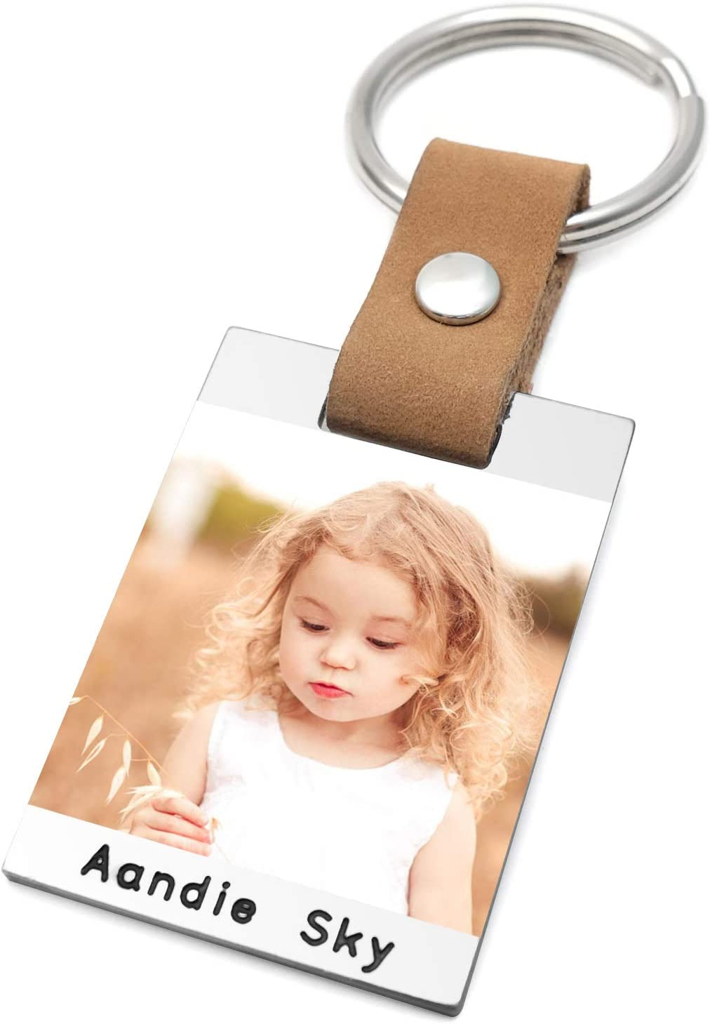 Personalised Photo Keyring Custom Photo Keychain Leather Dad Key Chain First Fathers Day Gift Dad Birthday Gift (Colorful Photo)