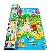 Harikrishnavilla Waterproof Anti Skid, Double Sided Playmat for Babies with Zip Bag (Multicolour, 120/180 Cm)