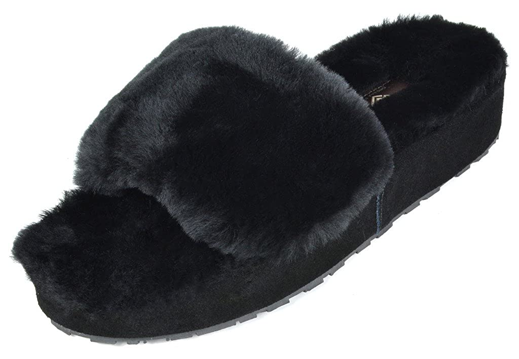 DREAM PAIRS Women's New Spa 01 Slide Fluffy Comfy Winter Slippers