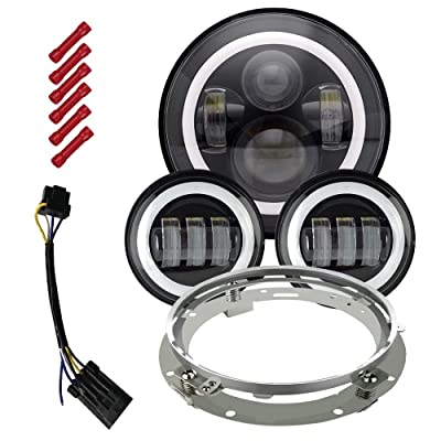 "TURBOSII Dot Approved Angel Eye 7"" Round LED Headlight With DRL Amber Turn Singal Hi/Lo Beam, 4.5"" Passing Lamps works with Harley Road King Street Glide: Automotive"
